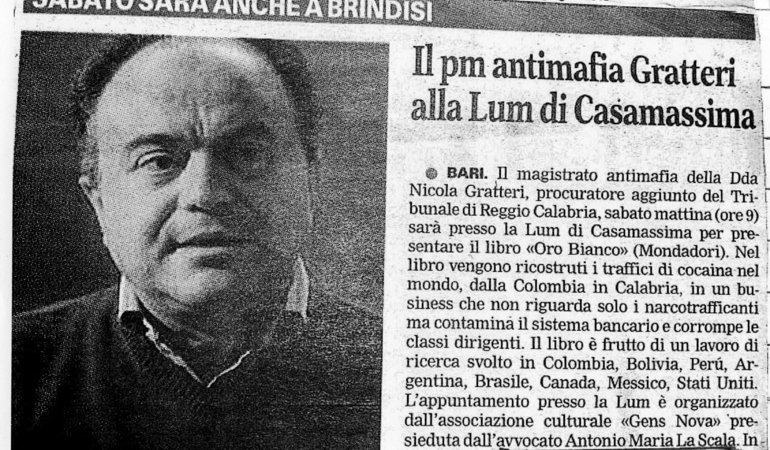 Il pm antimafia Gratteri all'Università Lum Jean Monnet di Casamassima