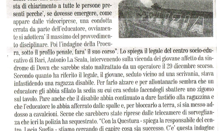 Disabile aggredito. Il legale del centro: